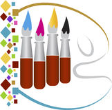 Drawing paint brushes logo Royalty Free Stock Photos