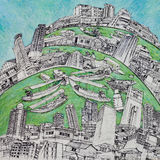 Drawing and painting of city and  life of Bangkok Royalty Free Stock Photo