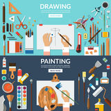 Drawing and painting conceptual banners set. Fine art and creative process. Art supplies - easel, palette, paper, brushes, pens, pencils, paints, watercolor Stock Images