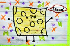 Drawing and painting done by a child. Pizza. Royalty Free Stock Photography