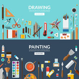 Drawing and painting. Fine art and creative process conceptual banners. Art supplies, stationery - palette, brushes, pens, pencils, paints, watercolor etc Royalty Free Stock Image