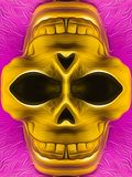 Drawing and painting golden skull Stock Photo