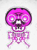 Drawing and painting pink bone structure. And skull Royalty Free Stock Photo