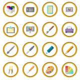 Drawing and painting tool icons circle Stock Photography