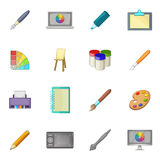 Drawing and painting tool icons set, cartoon style Royalty Free Stock Photo