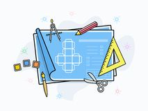Drawing and painting tools icons Royalty Free Stock Image