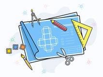 Drawing and painting tools icons Stock Images