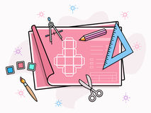 Drawing and painting tools icons Stock Photo