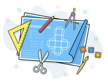 Drawing and painting tools icons Royalty Free Stock Photo