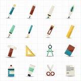 Drawing painting tools icons and stationery Stock Photos