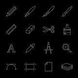 Drawing and painting tools icons Stock Image