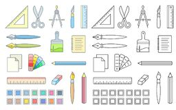 Art and office supplies. Drawing and painting tools for workshop. Vector icons of office supplies Stock Photos