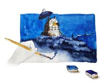 Drawing with paints. Watercolor painting of night with blue paints Stock Photos