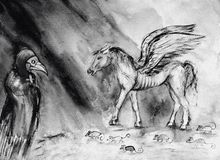 Drawing of pale horse of the apocalypse in  black and white. The dabbing technique near the edges gives a soft focus effect due to the altered surface Stock Photo