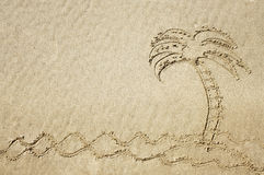 Drawing of a palm tree in the sand. Royalty Free Stock Photo