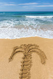 Drawing of palm tree on sandy beach Royalty Free Stock Image
