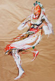 Drawing on paper of dancing girl in traditional Balkan costume Royalty Free Stock Photos