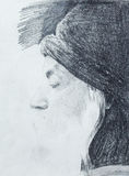 Drawing on paper ,Osho, zen budhistic guru. Stock Photography