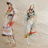 Drawing on paper of two Bulgarian traditional female costumes Royalty Free Stock Photos