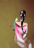 Drawing on paper of woman in gas mask with paradise bird Royalty Free Stock Photos
