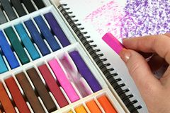 Drawing with Pastels Royalty Free Stock Images