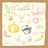 Vegetable food drawing set Stock Images