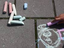 Drawing on the pavement Royalty Free Stock Photography