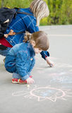 Drawing on a pavement Stock Image