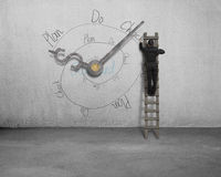 Drawing PDCA loop with clock hands on wall Royalty Free Stock Photo