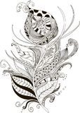 Abstract illustration of peacock feather in doodle style. Drawing peacock feather zentangle style for coloring book, tattoo, shirt design, logo, sign. Stylized royalty free illustration