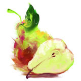Drawing pear with a slice Stock Photos