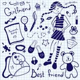 Drawing pen on notebook sheet, girlfriend Royalty Free Stock Images