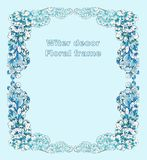 Winter decor - floral frame of snow-covered branches. stock illustration
