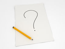 Drawing with Pencil. Question-mark Stock Photography