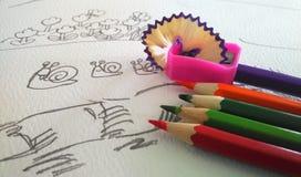 Drawing. The pencil drawing stock photos