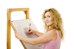 Drawing in pencil Stock Photography