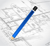 Drawing pencil and blueprints. illustration design Royalty Free Stock Photography