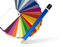 Drawing pencil and color pallet illustration Royalty Free Stock Photos