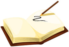 Drawing pencil with empty book. Illustration of isolated drawing pencil with empty book on white Stock Images