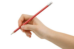 Drawing a pencil eraser in hand Royalty Free Stock Photos