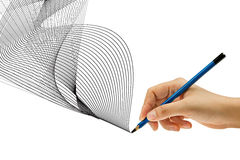 Drawing with pencil in hand Royalty Free Stock Photos