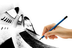 Drawing with pencil in hand Royalty Free Stock Image