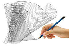 Drawing with pencil in hand Royalty Free Stock Images