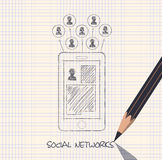 Drawing pencil scheme of  social networks communication people I Royalty Free Stock Image
