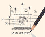 Drawing pencil scheme of  social networks communication people I Royalty Free Stock Images