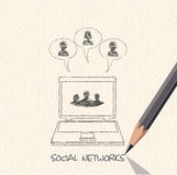 Drawing pencil scheme of  social networks communication people I Stock Photography