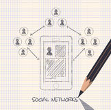 Drawing pencil scheme of  social networks communication people Stock Photography