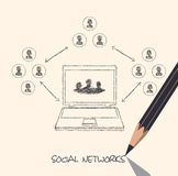 Drawing pencil scheme of  social networks communication people Internet. On the image  is presented drawing pencil scheme of  social networks communication Stock Images