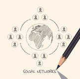 Drawing pencil scheme of  social networks communication people Internet Stock Image