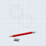 Drawing  pencil with sharpener. The figure shows the gear and pencil with sharpener Royalty Free Stock Photos